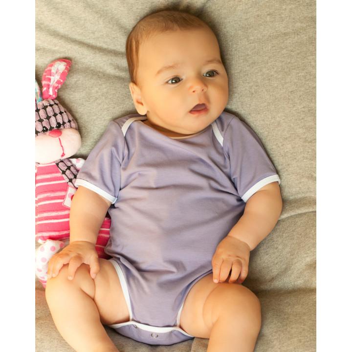 Детское боди BD002-Kf фиолетовое с коротким рукавом