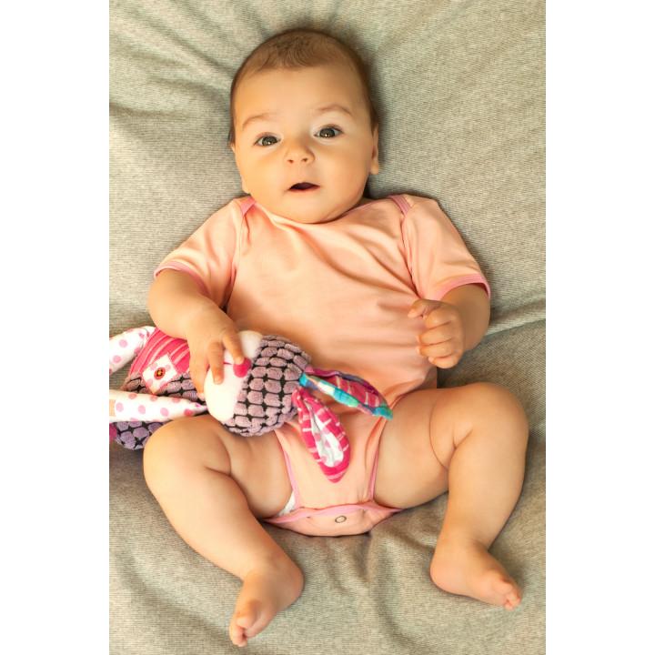 Детское боди BD002-Kper персиковое с коротким рукавом