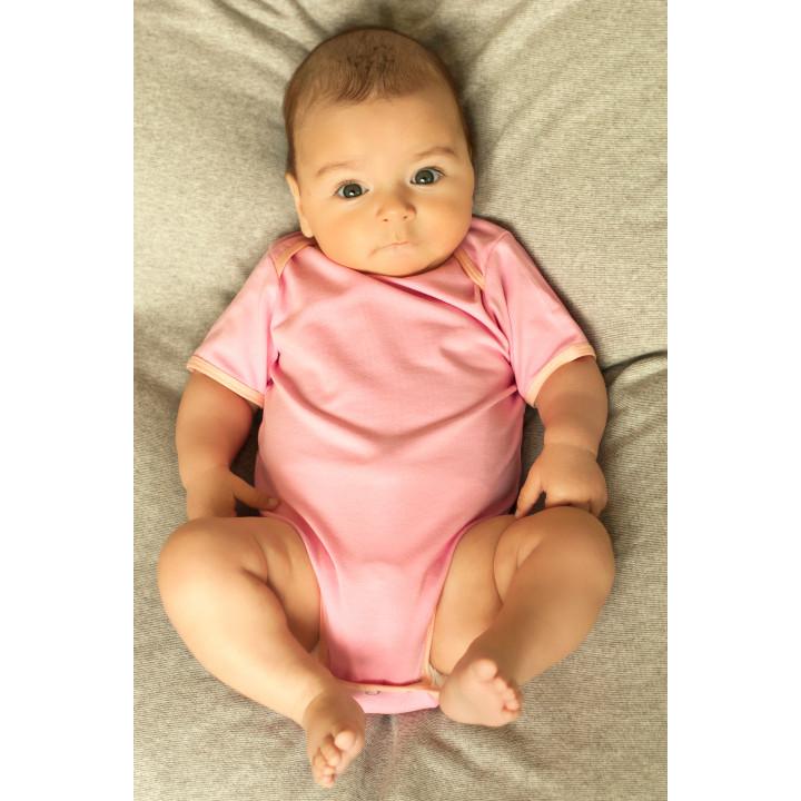 Детское боди BD002-Kr розовое с коротким рукавом