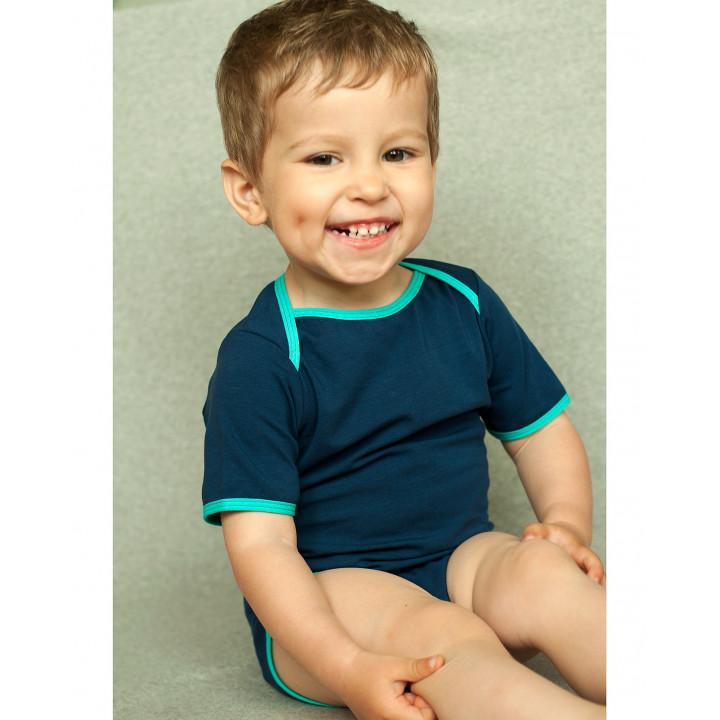 Детское боди BD002-Ksin синее с коротким рукавом