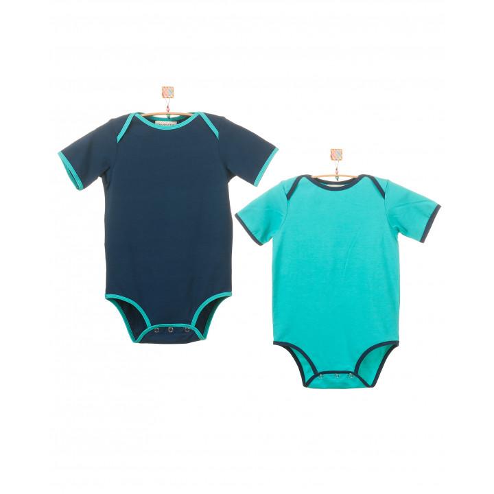 Детский комплект из двух боди (темно-ментоловый,синий) KMPL003-KtmenKsin