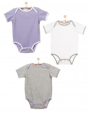 Детский комплект из трех боди (белый,серый меланж,фиолетовый) KMPL003-KbKsmKf