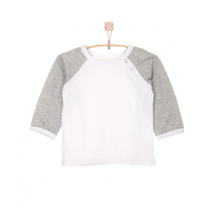 Детская футболка белая с длинным серым рукавом FT003-KbKsm