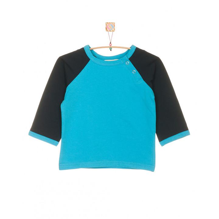 Детская футболка голубая с длинным тёмно-синим рукавом FT003-2g2tsin