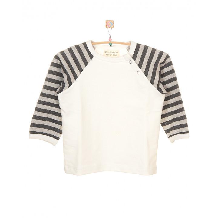 Детская футболка молочная с длинным рукавом в полоску (меланж-антрацит) FT003-2mol2POLsa