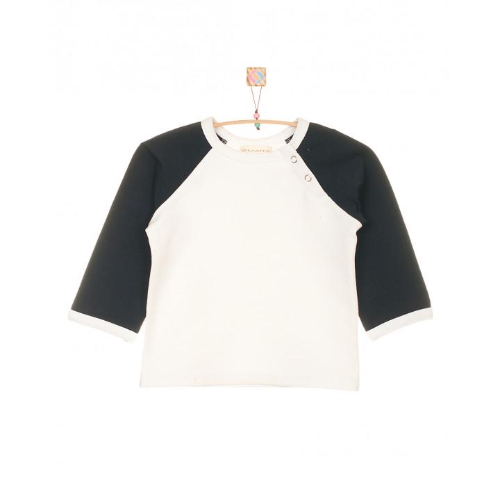 Детская футболка молочная с длинным тёмно-синим рукавом FT003-2mol2tsin