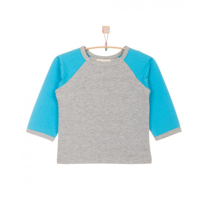 Детская футболка серая с длинным голубым рукавом FT003-2sm2g
