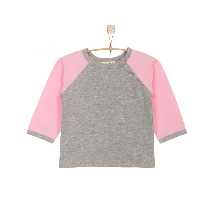 Детская футболка серая с длинным розовым рукавом FT003-2sm2r