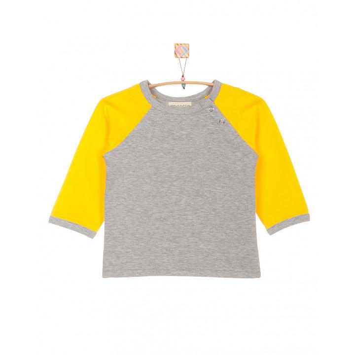 Детская футболка серая с длинным жёлтым рукавом FT003-2sm2zh