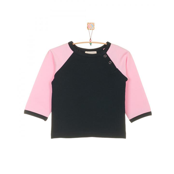 Детская футболка тёмно-синяя с длинным розовым рукавом FT003-2tsin2r