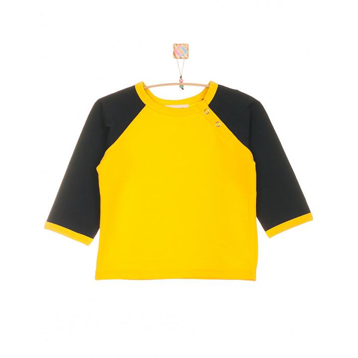 Детская футболка жёлтая с длинным тёмно-синим рукавом FT003-2zh2tsin