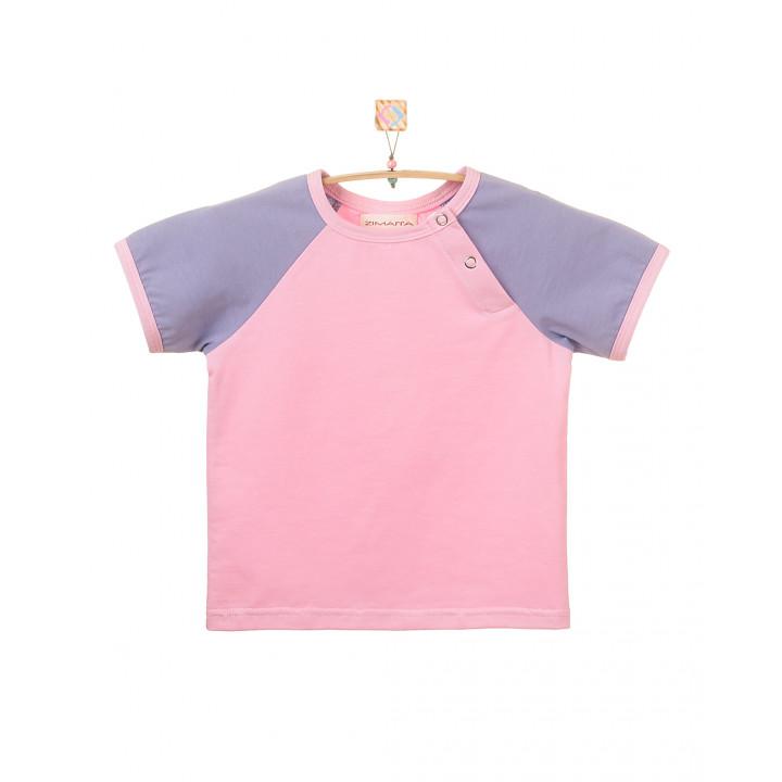 Детская футболка FT004 розовая с коротким фиолетовым рукавом