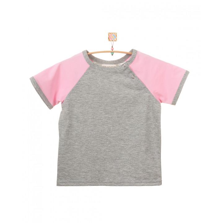 Детская футболка FT004-KsmKr cерый меланж с коротким розовым рукавом