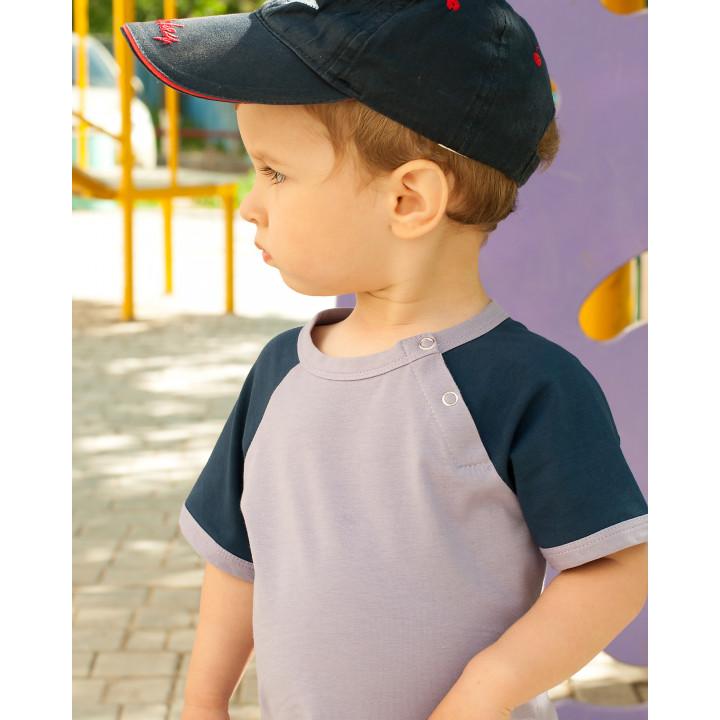 Детская футболка FT004 фиолетовая с коротким синим рукавом