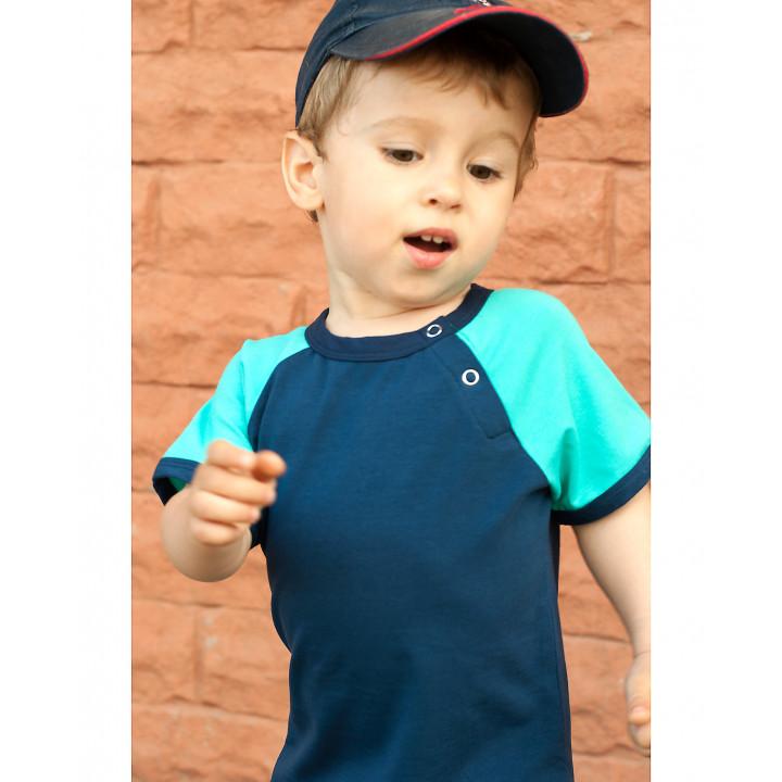 Детская футболка FT004-KsinKtmen синяя с коротким темно-ментоловым рукавом