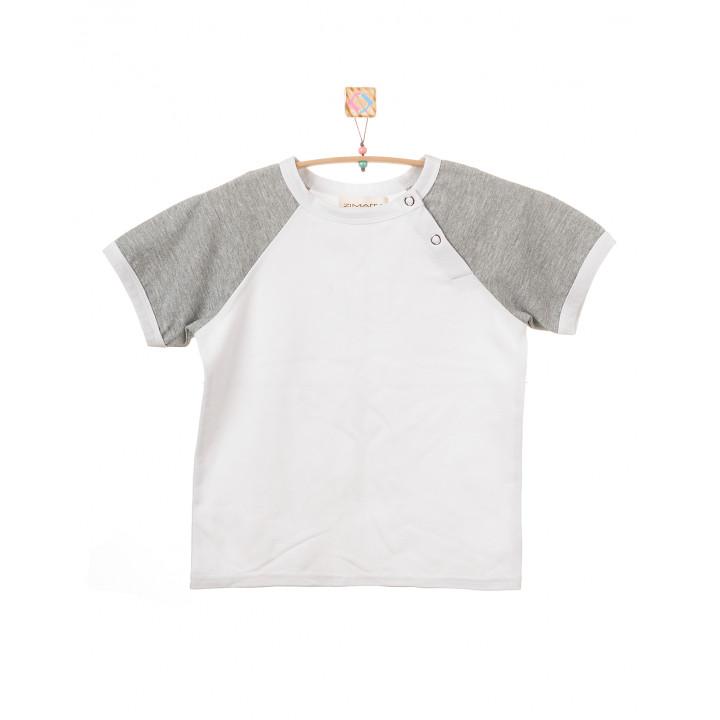 Детская футболка FT004  белая с коротким  рукавом cерый меланж