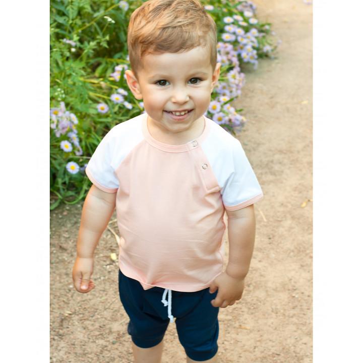 Детская футболка FT004-KperKb персиковая с коротким белым рукавом