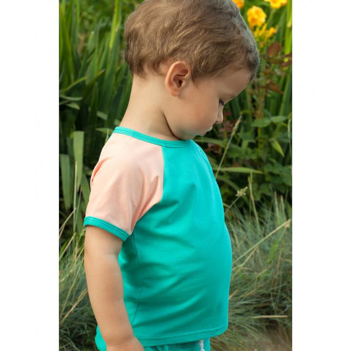 Детская футболка FT004-KtmenKper темно-ментоловая с коротким персиковым рукавом