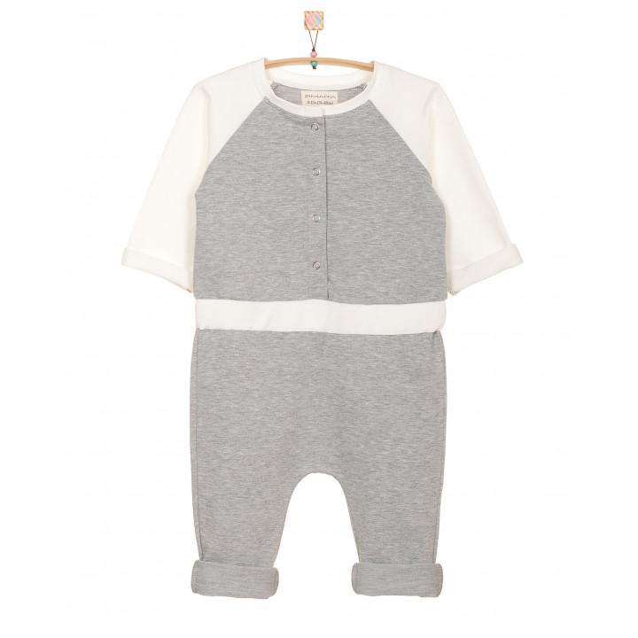 Детский комбинезон KMB001-2 серый-меланж c молочными рукавами и пояском