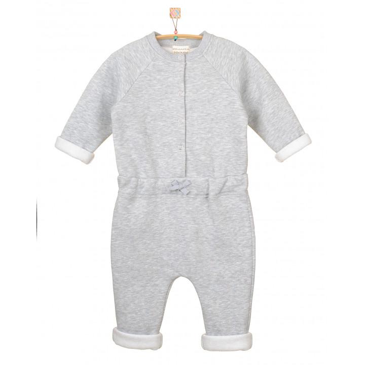 Детский комбинезон с начесом KMB001 серый меланж