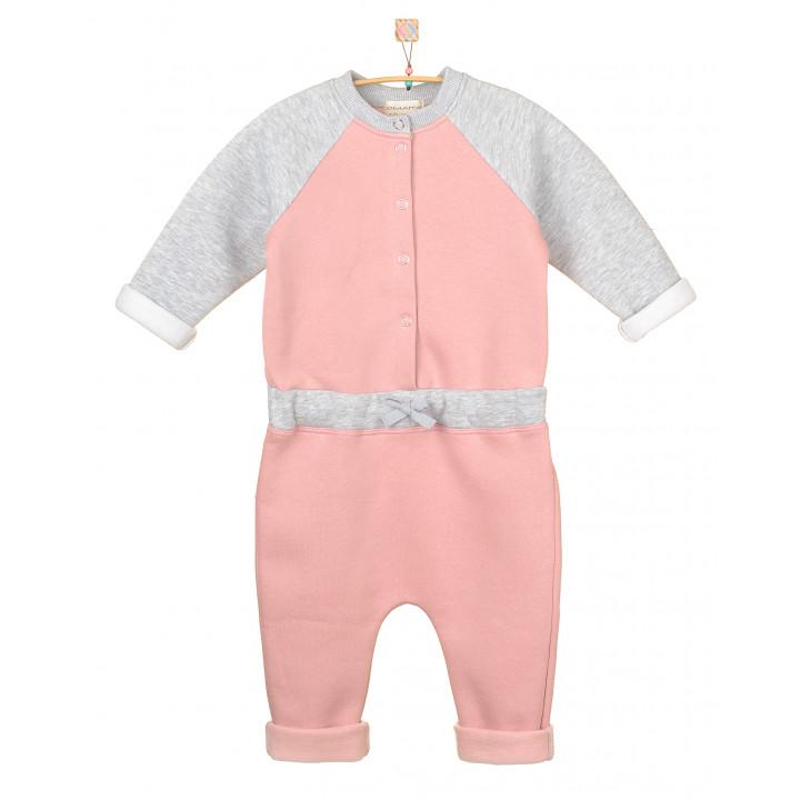 Детский комбинезон с начесом KMB001 серо-розовый/серый меланж