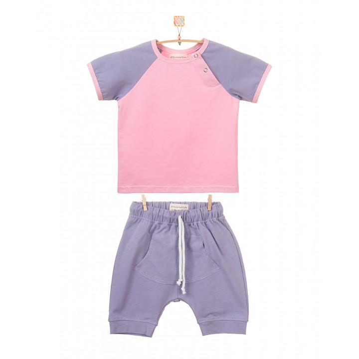 Детский комплект шорты и футболка (фиолетовый, розовый) KMPL001-KfKr