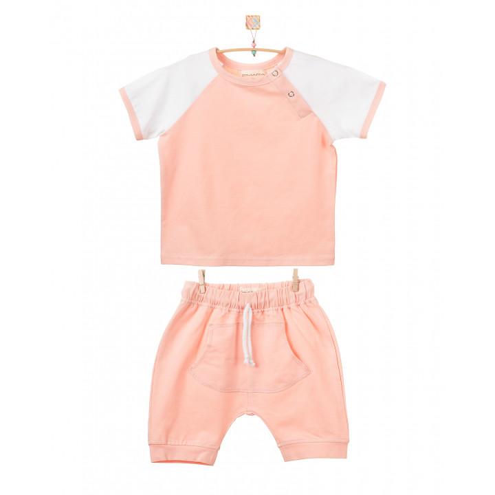 Детский комплект шорты и футболка (персиковый, белый) KMPL001-KperKb