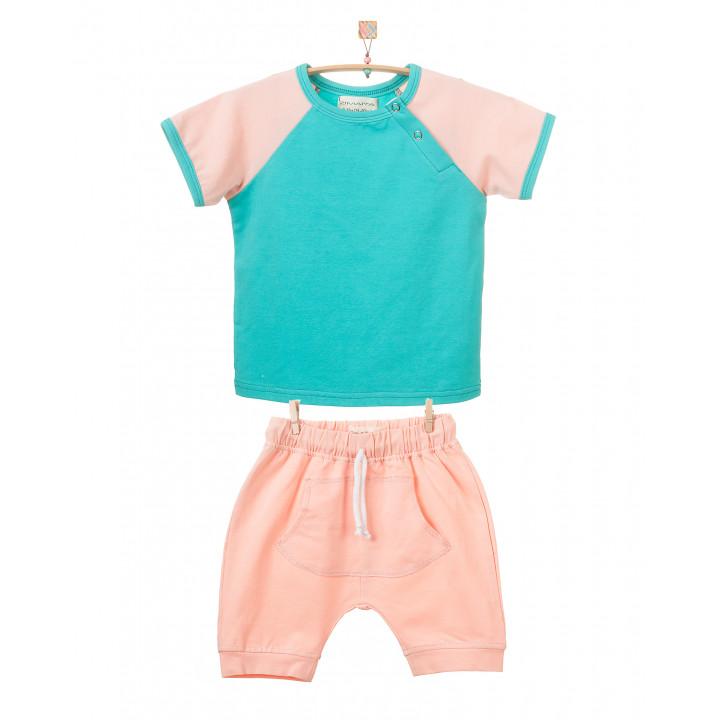 Детский комплект шорты и футболка (персиковый,темно-ментоловый) KMPL001-KperKtmen