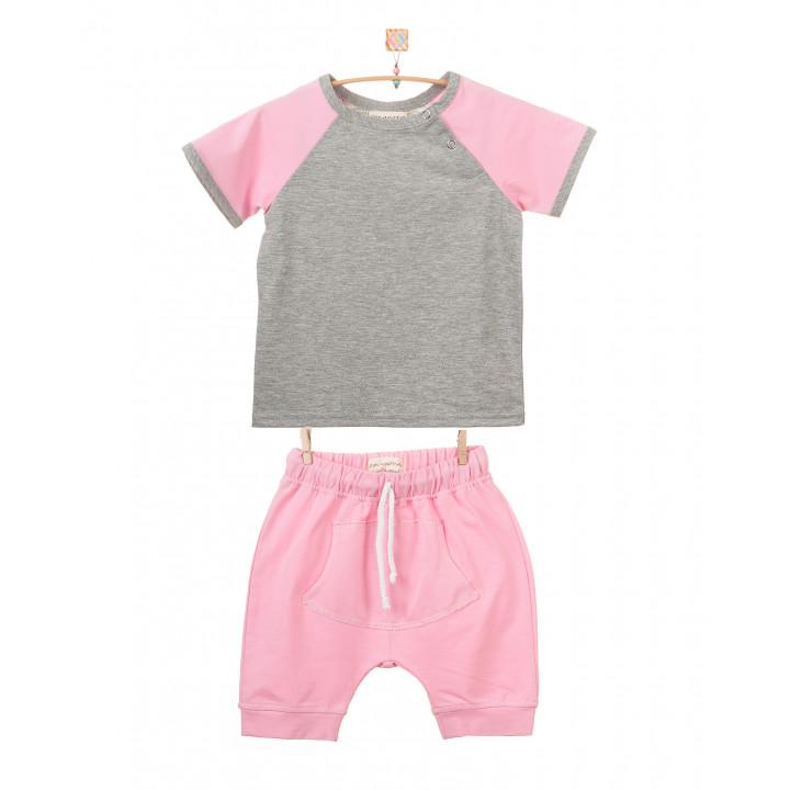 Детский комплект шорты и футболка (розовый, серый меланж) KMPL001-KrKsm
