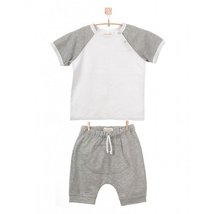 Детский комплект шорты и футболка (серый меланж, белый) KMPL001-KsmKb