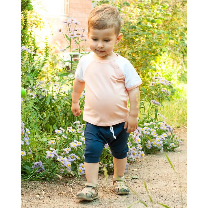 Детский комплект шорты и футболка (синий, персиковый, белый) KMPL001-KsinKperKb