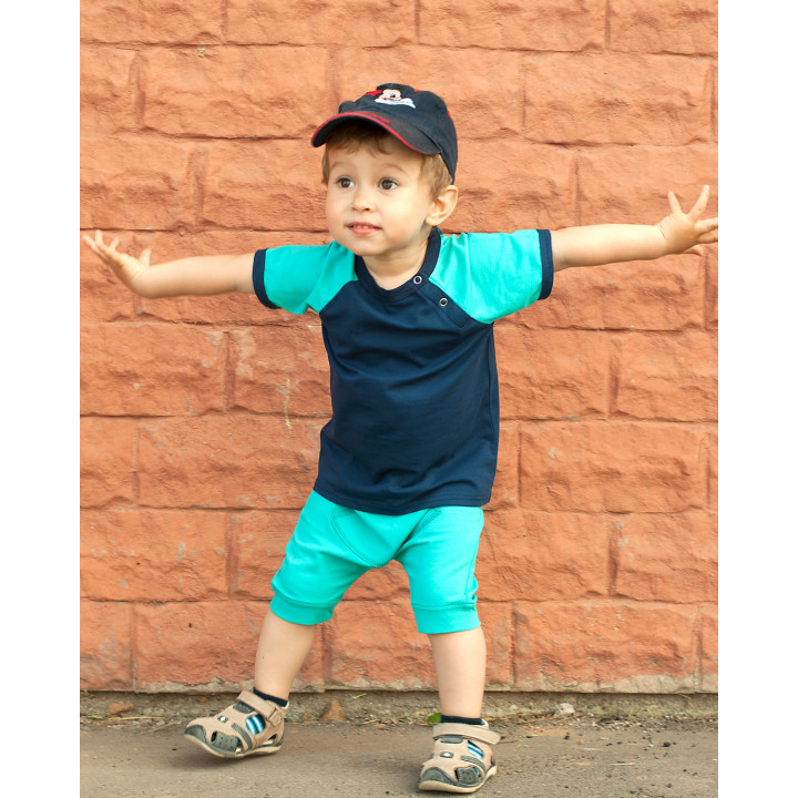 Детский комплект шорты и футболка (темно-ментоловый, синий) KMPL001-KtmenKsin