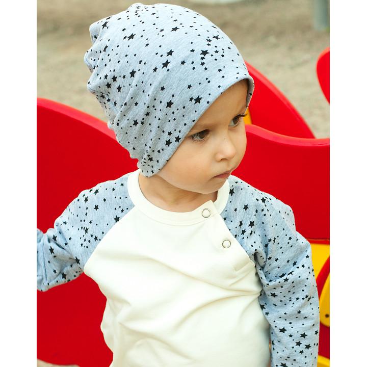 Детская шапочка SHP001 (серый меланж, звезды)