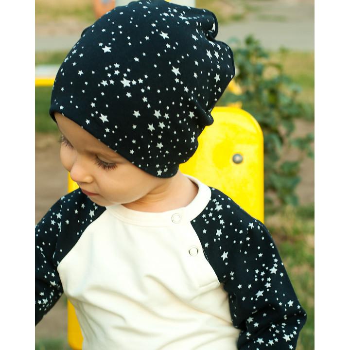 Детская шапочка SHP001 (темно-синяя, звезды)