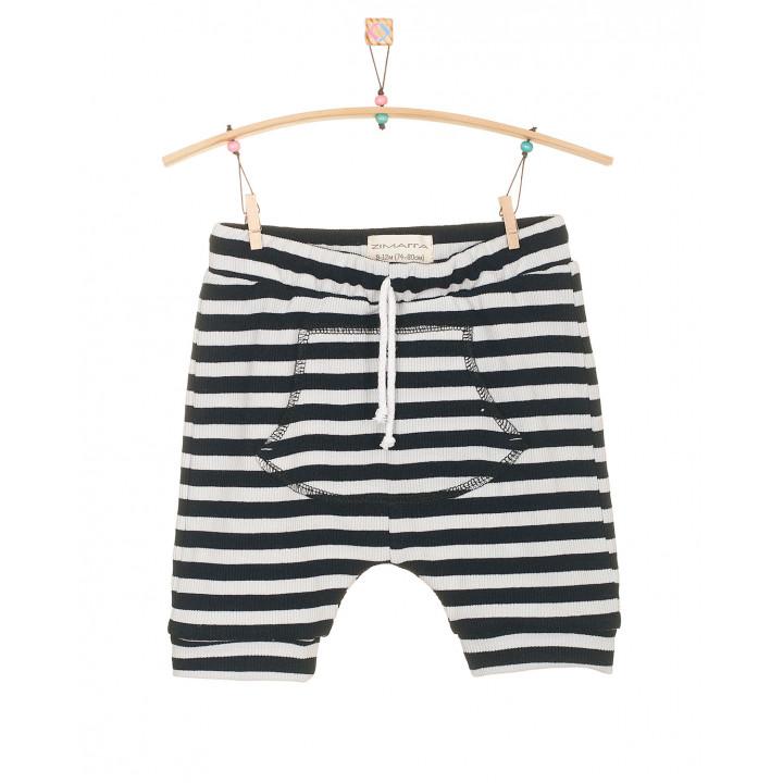 Детские шорты SH001 черно-белые в полоску с кармашком