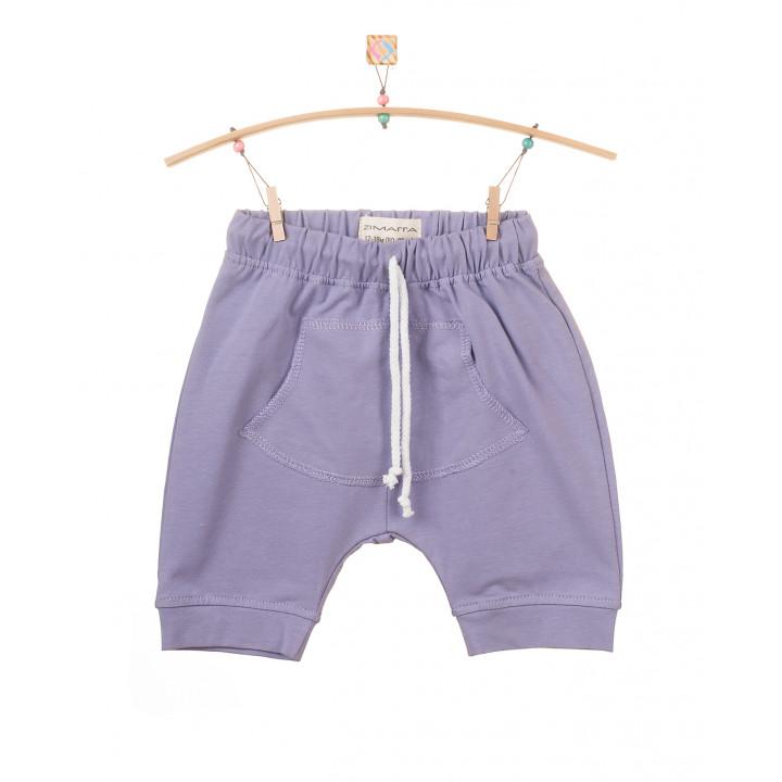 Детские шорты SH001 фиолетовые с кармашком (трикотаж)