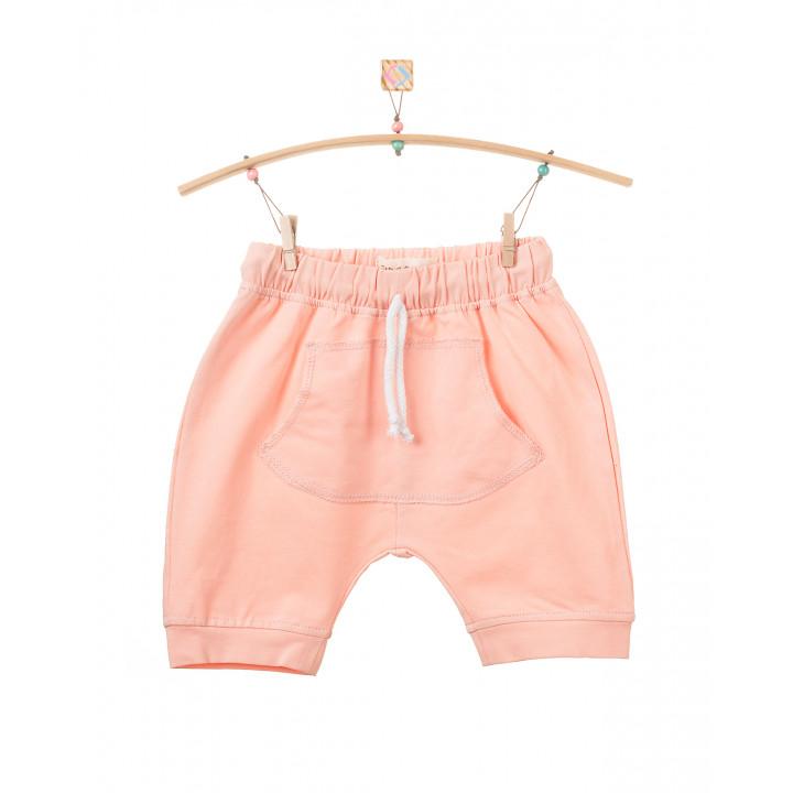 Детские шорты SH001 персиковые с кармашком (трикотаж)