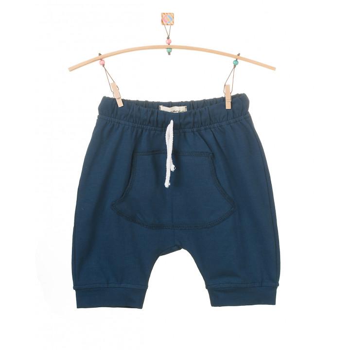 Детские шорты SH001 синие с кармашком (трикотаж)