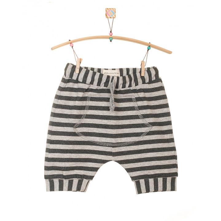 Детские шорты SH001-2POLsa в полоску (антрацит, серый меланж) с кармашком