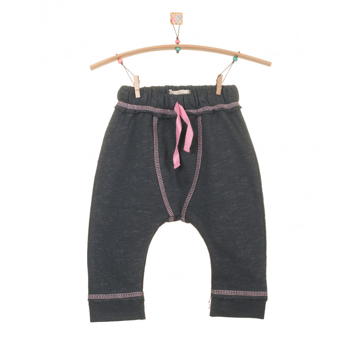 Детские штаны темно серые с розовым шнурком SHT001-3SHtsr