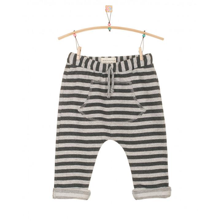 Детские штаны SHT002 в полоску антрацит+серый меланж с кармашком