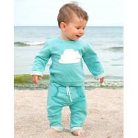 Детский спортивный костюм SK002 ментоловый верх с аппликацией в виде тучки