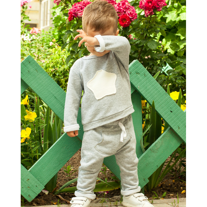 Детский спортивный костюм SK002-3sm  серый меланж