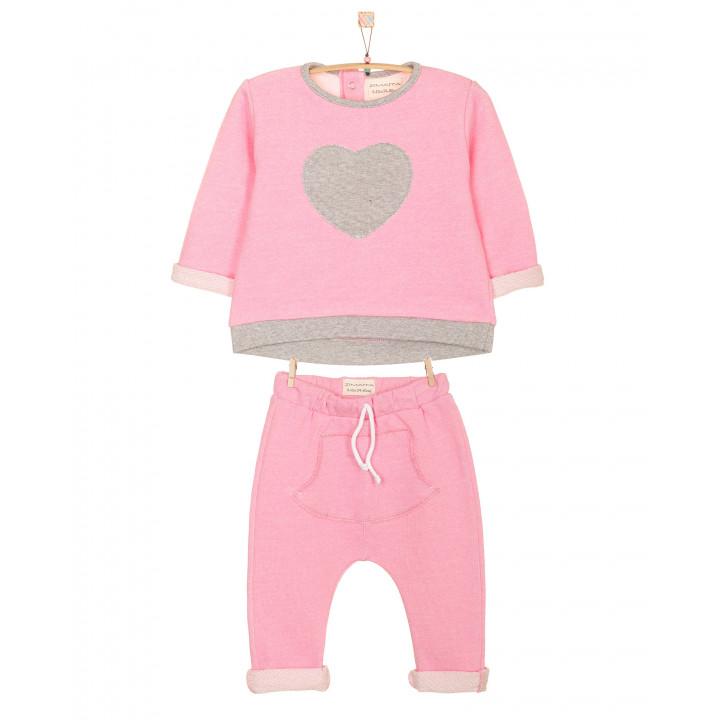 Детский спортивный костюм SK002 розовый верх с аппликацией в виде сердечка