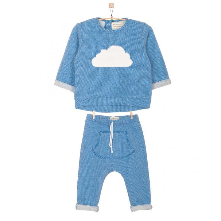 Детский спортивный костюм SK002 синий верх с аппликацией в виде тучки