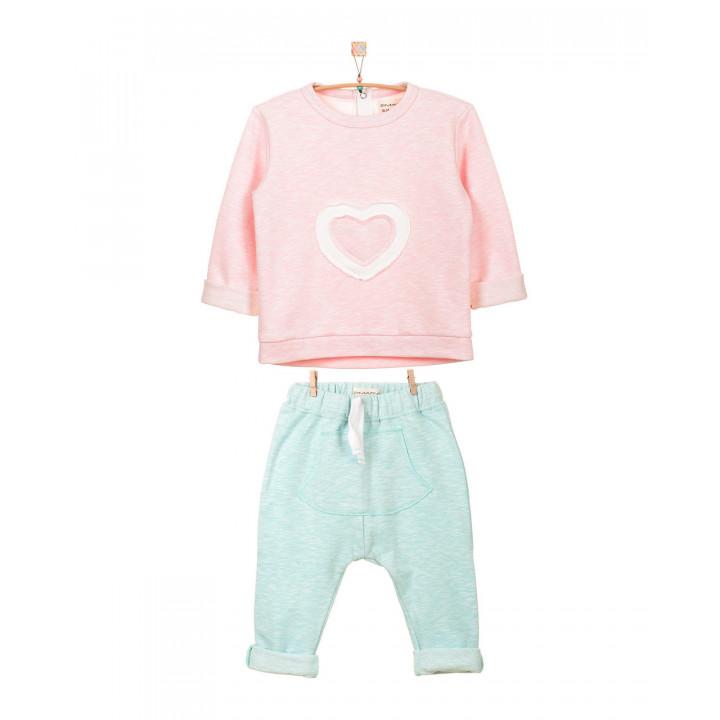 Детский спортивный костюм SK002-3SHnr3SHnmen верх нежно-розовый, низ нежно-ментоловый