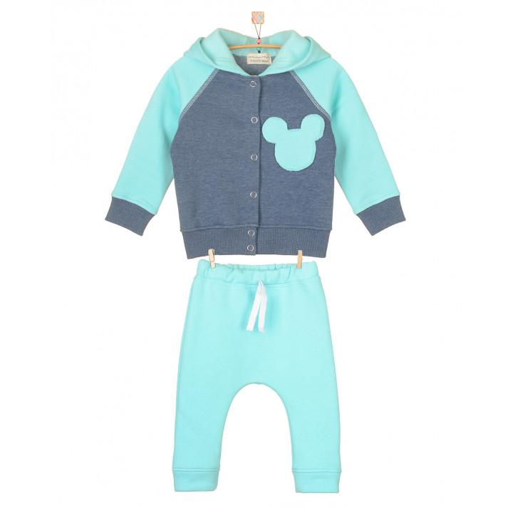 Детский тёплый спортивный костюм с начёсом SK008-3Nneb (мятный)