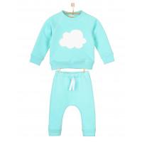 Детский тёплый костюм с начёсом небесный SK009-3Nneb