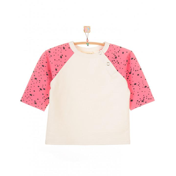 Детская кофта-реглан FT003 (розовая, звезды)