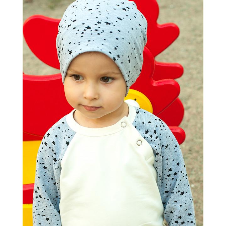 Детская кофта-реглан FT003 (серый меланж, звезды)